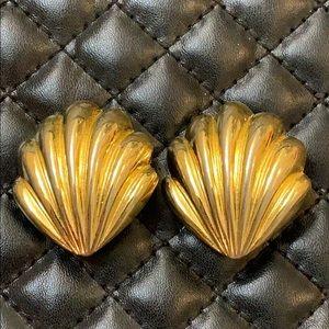 Paolo Designer Gold Shell Runway Fashion Earrings